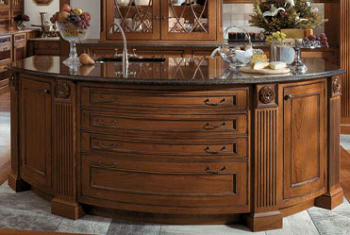 Curved Drawer Fronts on Kitchen Island